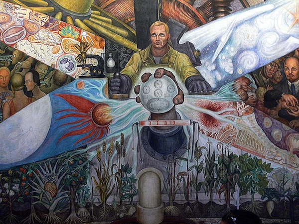 Man at the center of the mural (detail), Diego Rivera, Man, Controller of the Universe, 1934 (Palacio de Bellas Artes, Mexico City) (photo: Joaquín Martínez, CC Attribution 2.0 Generic)