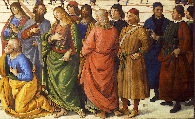Right side (detail), Perugino, <em>Christ Giving the Keys of the Kingdom to St. Peter</em>, Sistine Chapel, 1481-83, fresco, 10 feet 10 inches x 18 feet (Vatican, Rome)