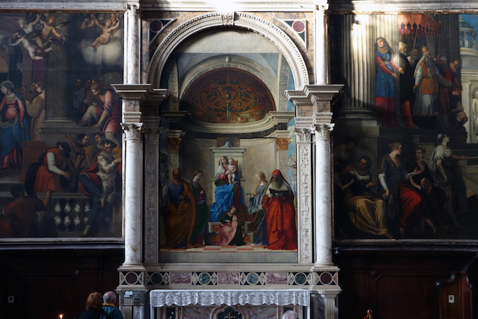 "Giovanni Bellini, San Zaccaria Altarpiece, 1505, oil on wood transferred to canvas, 16' 5-1/2"" x 7' 9"" (San Zaccaria, Venice) (photo: Steven Zucker, CC BY-NC-SA 2.0)"