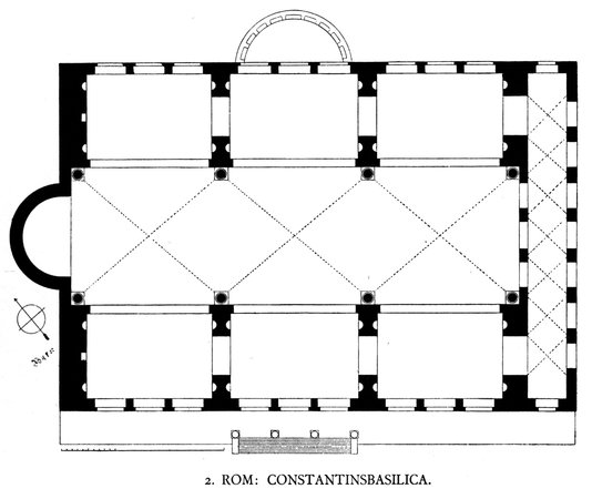 Floor plan of the Roman Basilica of Maxentius and Constantine, 308-312 C.E. (image: Die kirchliche Baukunst des Abendlandes by Dehio and Bezold)