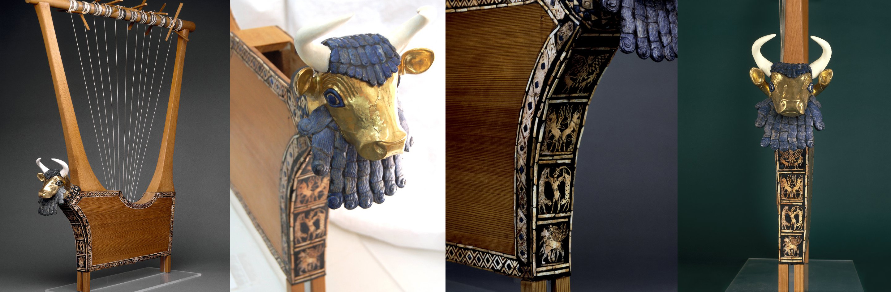 Queen's Lyre (reconstruction), 2600 B.C.E., wooden parts, pegs and string are modern; lapis lazuli, shell and red limestone mosaic decoration, set in bitumen and the head (but not the horns) of the bull are ancient; the bull's head in front of the sound box is covered with gold; the eyes are lapis lazuli and shell and the hair and beard are lapis lazuli; the significance of the beard is not known; panel on front depicts lion-headed eagle between gazelles, bulls with plants on hills, a bull-man between leopards and a lion attacking a bull; edges of the sound-box decorated with inlay bands; eleven gold-headed pegs for the strings, 112.5 x 73 x 7 cm (body) © The Trustees of the British Museum