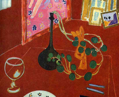 Objects on table (detail), Henri Matisse, detail The Red Studio, 1911, oil on canvas, 181 x 219.1 cm (Museum of Modern Art, New York)