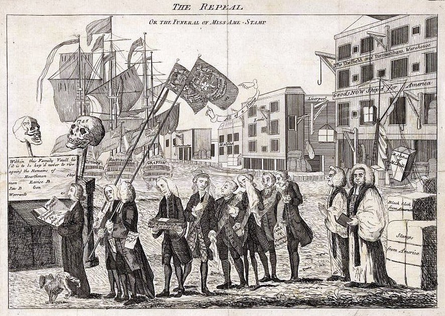 Political Cartoon Showing A Mock Funeral Procession For The Stamp Act
