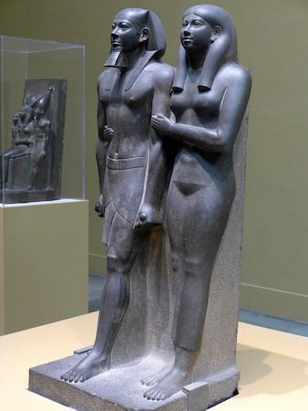 King Menkaure (Mycerinus) and queen, 2490–2472 B.C.E., greywacke, 142.2 x 57.1 x 55.2 cm (Museum of Fine Arts, Boston)
