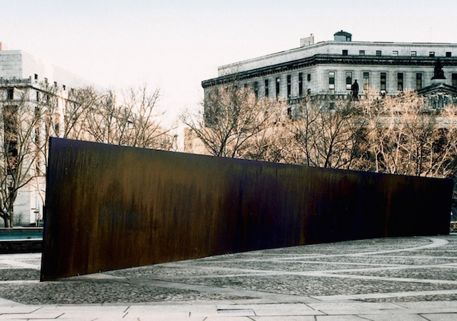 Richard Serra, Tilted Arc, Federal Plaza, New York, NY, installed 1981, destroyed 1989 (photo: U.S. General Services Administration publication)