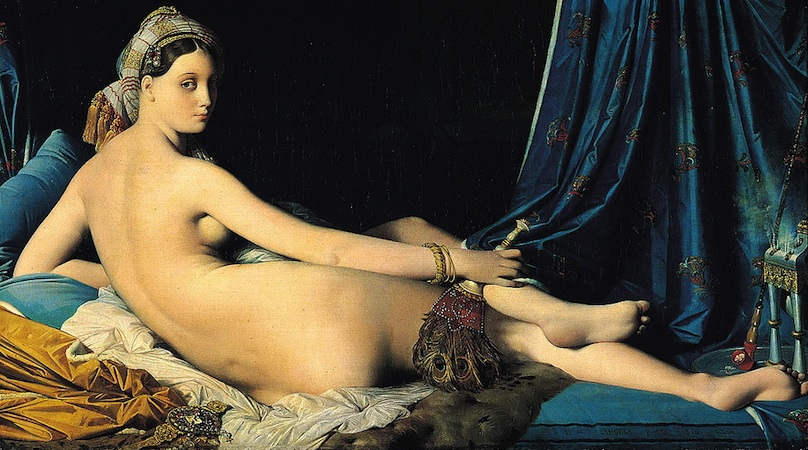 "Jean-Auguste-Dominique Ingres, La Grande Odalisque, 1814, Oil on canvas, 36"" x 63"" / 91 x 162 cm (Louvre, Paris)"