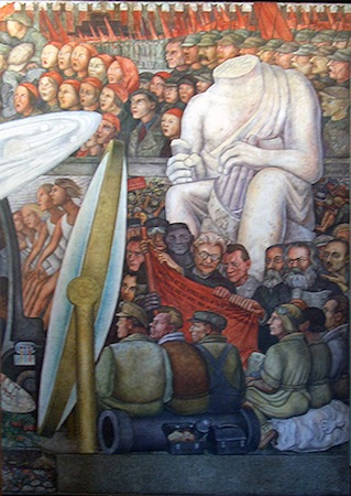 Defaced classical sculpture surrounded by the political figures of the Russian Revolution (detail), Diego Rivera, Man, Controller of the Universe, 1934 (Palacio de Bellas Artes, Mexico City)(photo: Peter Van Eynde, CC BY-NC-ND 2.0)