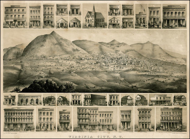 Grafton Tyler Brown, Map of Virginia City, Nevada Territory, c. 1864, published by the C.C. Kuchel Company in San Francisco