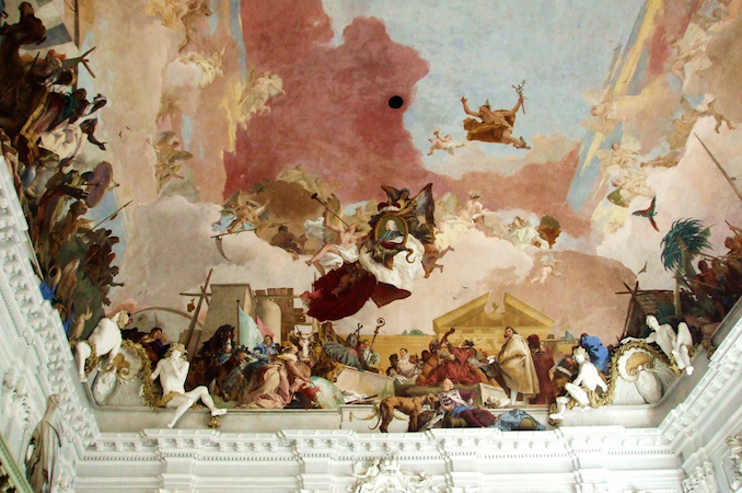 Ceiling (detail), Giambattista and Domenico Tiepolo, Apollo and the Continents, Residenz Staircase, completed in 1744 (Residenz Palace, Würzburg, Germany) (photo: Maria, CC BY-NC-ND 2.0)