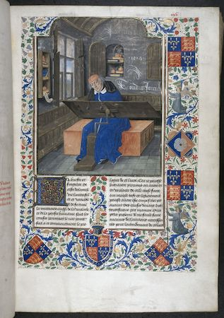 Miniature of the translator, Simon de Hesdin, at work in his study, Valerius Maximus, translated by Simon de Hesdin and Nicholas de Gonesse, Facta et dicta memorabilia, 1479, London, British Library, Royal 18 E III, f. 24