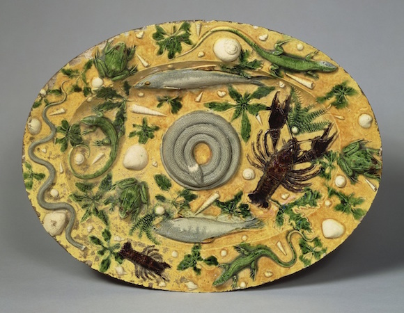 "Attributed to Bernard Palissy, Oval Basin, c. 1550, lead-glazed earthenware, 18 7/8 x 14 1/2"" (The J. Paul Getty Museum)"