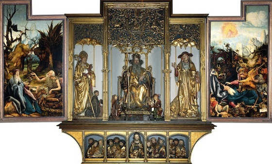 Matthias Grünewald, Isenheim Altarpiece (fully open position, sculptures by Nicolas of Hagenau), 1510-15