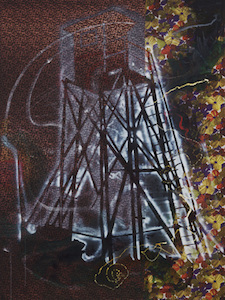 "Sigmar Polke, Watchtower, 1984, synthetic polymer paints and dry pigment on patterned fabric, 9' 10"" x 7' 4 1/2"" (The Museum of Modern Art) © 2015 Estate of Sigmar Polke"