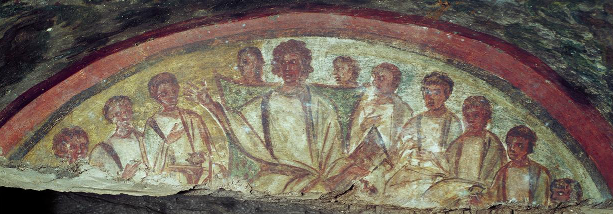 Christ and the Apostles, Catacombs of Domitilla, 4th century C.E., Rome