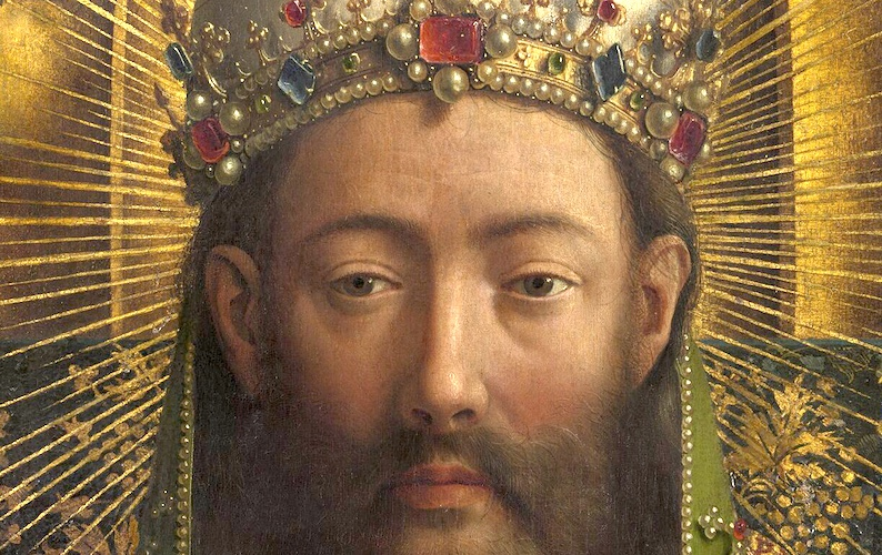 God/Christ (detail), Jan van Eyck, Ghent Altarpiece, completed 1432, oil on wood, 11 feet 5 inches x 15 feet 1 inch (open), Saint Bavo Cathedral, Ghent, Belgium