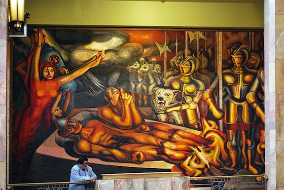 David Alfaro Siqueiros, Torment and Apotheosis of Cuauhtémoc (detail), 1950-51 (Museum of the Palace of Fine Arts, photo: Jaontiveros)