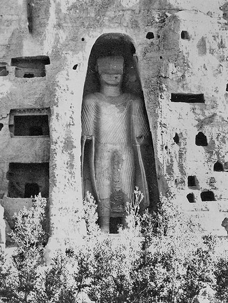 East Buddha, c. 6th-7th c C.E., stone, stucco, painted, 120 feet high, Bamiyan, Afghanistan, destroyed 2001 (photo: ©Dr. H. Crane)