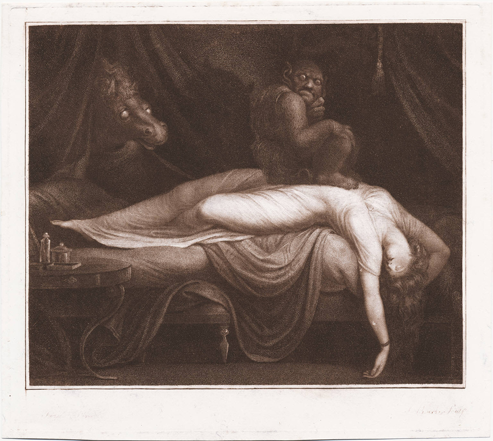 Burke, Thomas, The night mare after Fuseli, published in London by R. J. Smith, 1783, stipple engraving in sepia ; plate mark 228 x 254 mm, on sheet 24 x 27 cm (Walpole Library, Yale University)