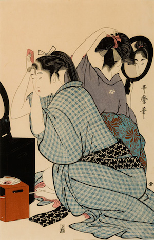 Kitagawa Utamaro, Two Young Women Kneeling Back to Back, Dressing Their Hair in Mirrors, woodblock print, Lieber Collection, East Hampton NY