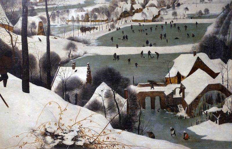 pieter bruegel the elder hunters in the snow winter article  a person carrying a load of sticks over a bridge detail pieter bruegel the elder hunters in the snow winter 1565 oil on wood