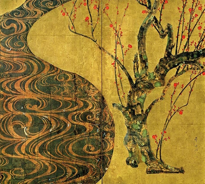 Right side, red blossoms (detail), Ogata Kōrin, Red and White Plum Blossoms, Edo period, 18th century, pair of two-fold screens, color and gold leaf on paper, 156 ×172.2 cm each, National Treasure (MOA Museum in Atami, Japan)