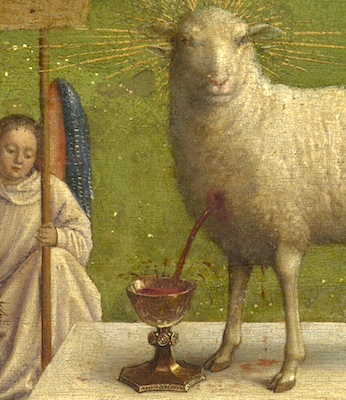 Lamb (detail), Adoration of the Mystic Lamb, bottom center panel, Jan van Eyck, Ghent Altarpiece, completed 1432, oil on wood, 11 feet 5 inches x 15 feet 1 inch (open), Saint Bavo Cathedral, Ghent, Belgium (photo: Closer to Van Eyck)