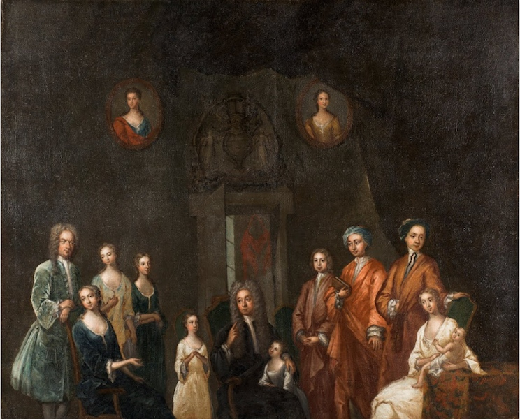 "John Smibert, Portrait of Sir Francis Grant and His Family, 1718, oil on canvas, 127 x 1041.4"" (SCAD Museum of Art)"