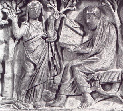 Praying female figure (left) and philosopher (right) (detail), Santa Maria Antiqua Sarcophagus, 3rd century C.E., from the Church of Santa Maria Antiqua, Rome