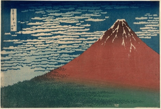 "Katsushika Hokusai, Fine Wind, Clear Weather, Also known as Red Fuju, from the series Thirty-six Views of Mount Fuji, c. 1830-31, woodblock print; ink and color on paper, 9 5/8 x 15"" / 24.4 x 38.1 cm (Museum of Fine Arts, Boston)"