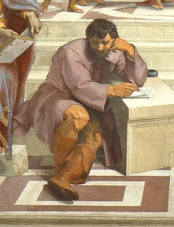Heraclitus, whose features are based on Michelangelo's and his seated pose is based on the prophets and sibyls from Michelangelo's frescoes on the Sistine Chapel Ceiling (detail), Raphael, School of Athens, 1509-11, Stanza della Segnatura (Vatican City, Rome)