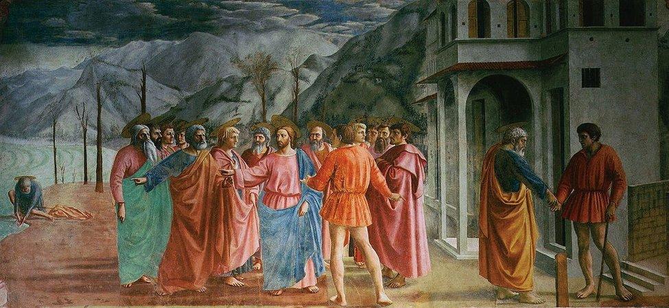 Masaccio, Tribute Money, 1427, fresco (Brancacci Chapel, Santa Maria del Carmine, Florence)