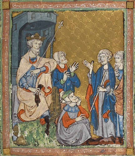 Moses and Aaron come before Pharaoh, The Golden Haggadah, c. 1320, Northern Spain, probably Barcelona (British Library, MS. 27210, f. 11)