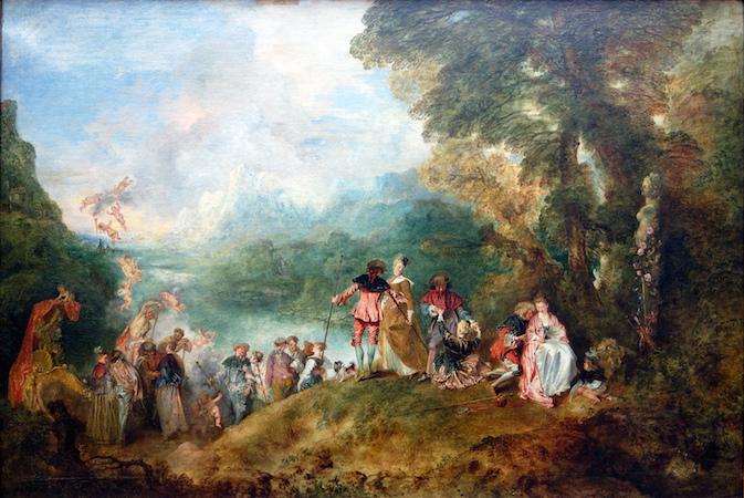 """Antoine Watteau, Pilgrimage to Cythera, 1717, oil on canvas, 4' 3"""" x 6' 4 1/2"""" (Musée du Louvre, Paris)"""