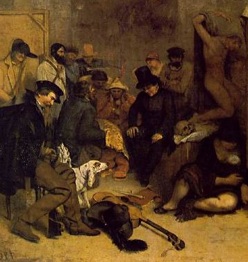 Left side (detail), Gustave Courbet, The Artist's Studio; A real allegory summing up seven years of my artistic and moral life, 1854-55, oil on canvas, 361 x 598 cm (Musée d'Orsay, Paris)