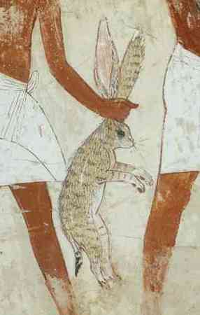 Estate worker bringing a hare from the fields (detail), Servants bringing offerings, Tomb Chapel of Nebamun, c. 1350 B.C.E., 18th Dynasty, paint on plaster, 41 cm, Thebes, Egypt © Trustees of the British Museum