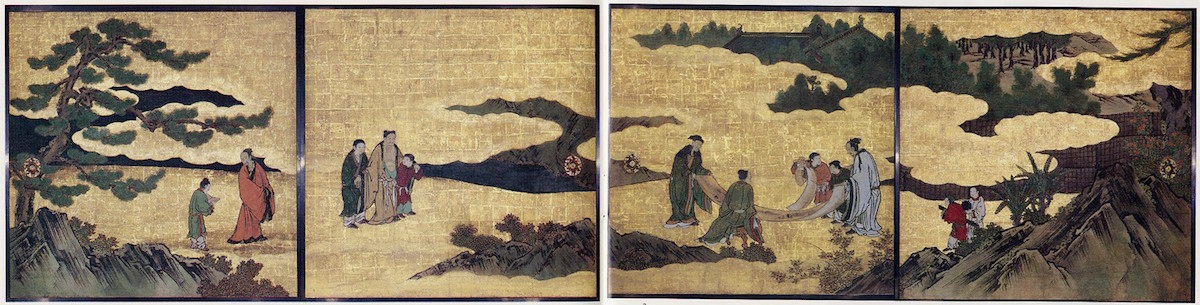 Appreciation of Painting, from a set of the Four Accomplishments, Kano school, Momoyama period, c. 1606, four of eight panels mounted on sliding-door panels, ink, color, gold and gold leaf on paper, 72 inches x 24 feet / 182/9 x 731.5 cm (The Metropolitan Museum of Art)