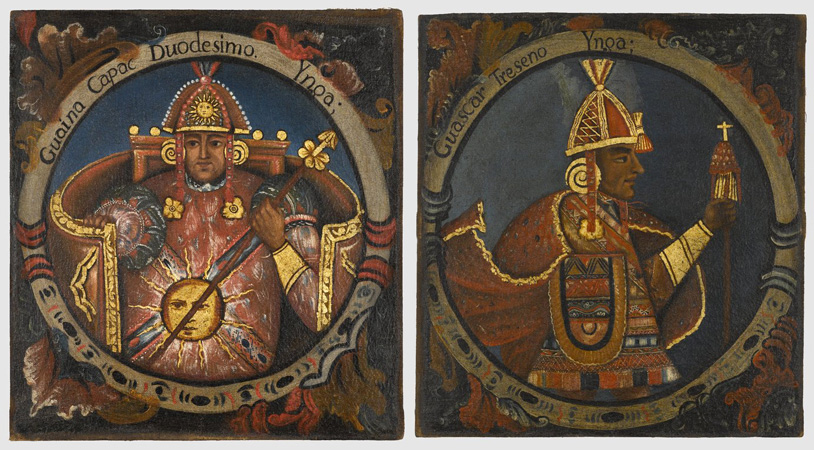Right: Huayna Capac, Twelfth Inca, c. mid-18th century, oil on canvas, 23 1/2 x 21 11/16 inches (Brooklyn Museum of Art); left:Huascar, Thirteenth Inca, c. mid-18th century, oil on canvas, 23 1/2 x 21 11/16 inches (Brooklyn Museum of Art)