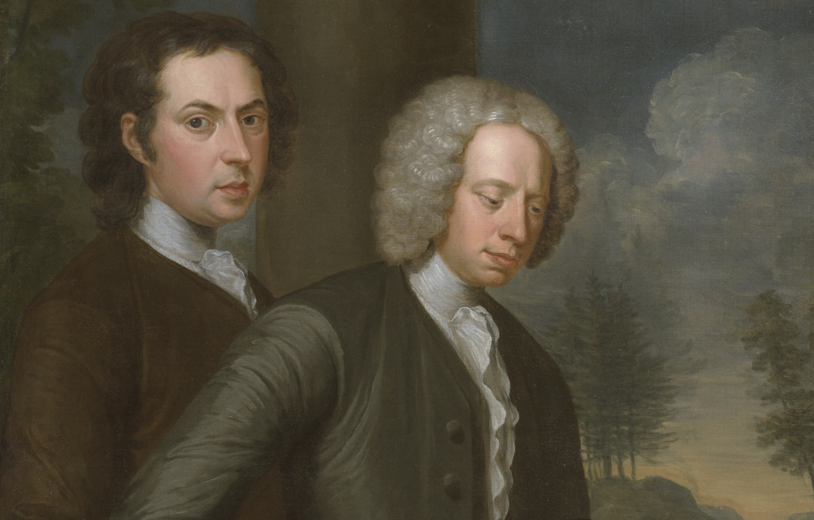 "The artist (left) and John James or Richard Dalton (detail), John Smibert, The Bermuda Group, 1728, reworked 1739, oil on canvas, 69 1/2 x 93"" / 176.5 x 236.2 cm (Yale University Art Gallery)"