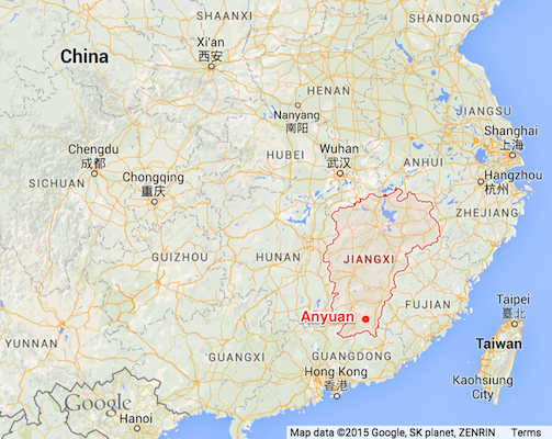 Map showing Anyuan within Jiangxi province in China