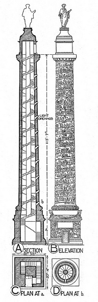 Column of Trajan, dedicated 113 C.E., plan, elevation, and section