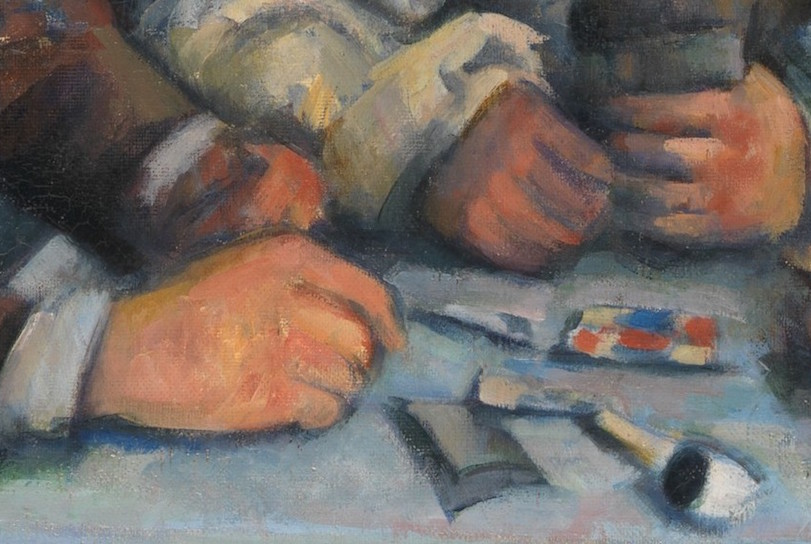 Table and hands with cards (detail), Paul Cézanne, The Card Players, 1890-92, oil on canvas, 65.4 x 81.9 cm (The Metropolitan Museum of Art)