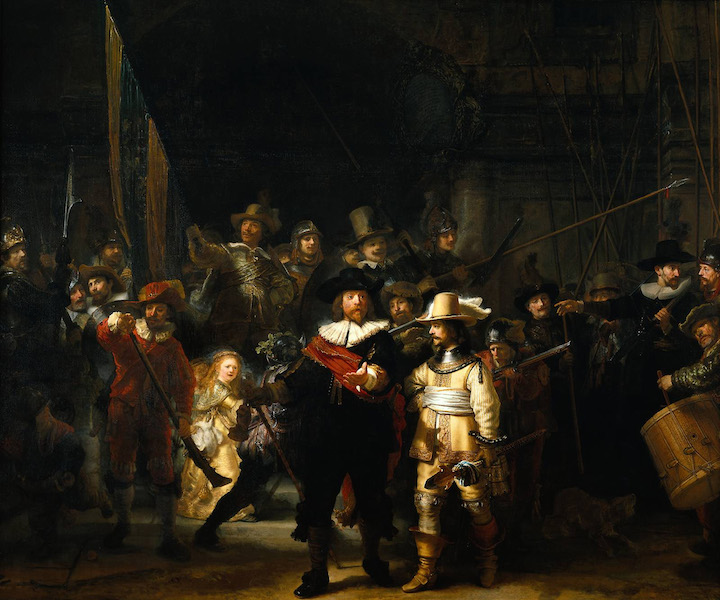 Rembrandt, Officers and Men of the Company of Captain Frans Banning Cocq and Lieutenant Wilhelm van Ruytenburgh, known as the Night Watch, 1642, oil on canvas, 379.5 x 453.5 cm (Rijksmuseum, Amsterdam)