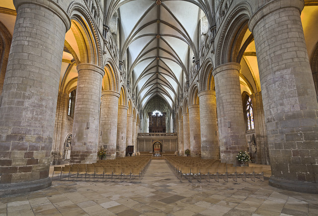 Gloucester Cathedral, nave, begun 1089 (ceiling later) (photo: Michael D. Beckwith, CC BY 2.0)