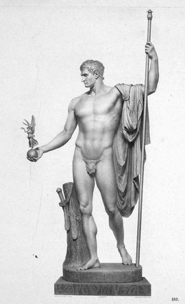 Nineteenth century French engraving of Canova, Napoleon as Mars the Peacemaker, 1802-1806, 325 cm (Wellington Museum, Apsley House, London)