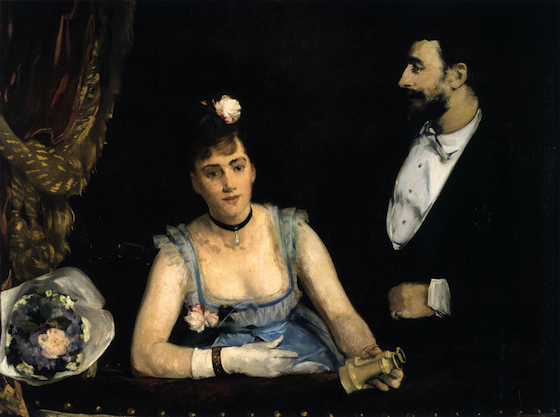 Eva Gonzàles, A Loge at the Théâtre des Italiens, 1874, (first exhibited 1879), oil on canvas, 98 x 130 cm (Musée d'Orsay, Paris)