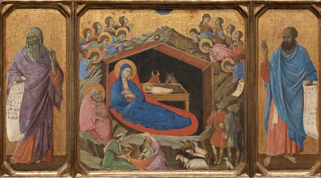 Duccio, The Nativity with the Prophets Isaiah and Ezekial, 1308-11 (National Gallery of Art, Washington, D.C.)