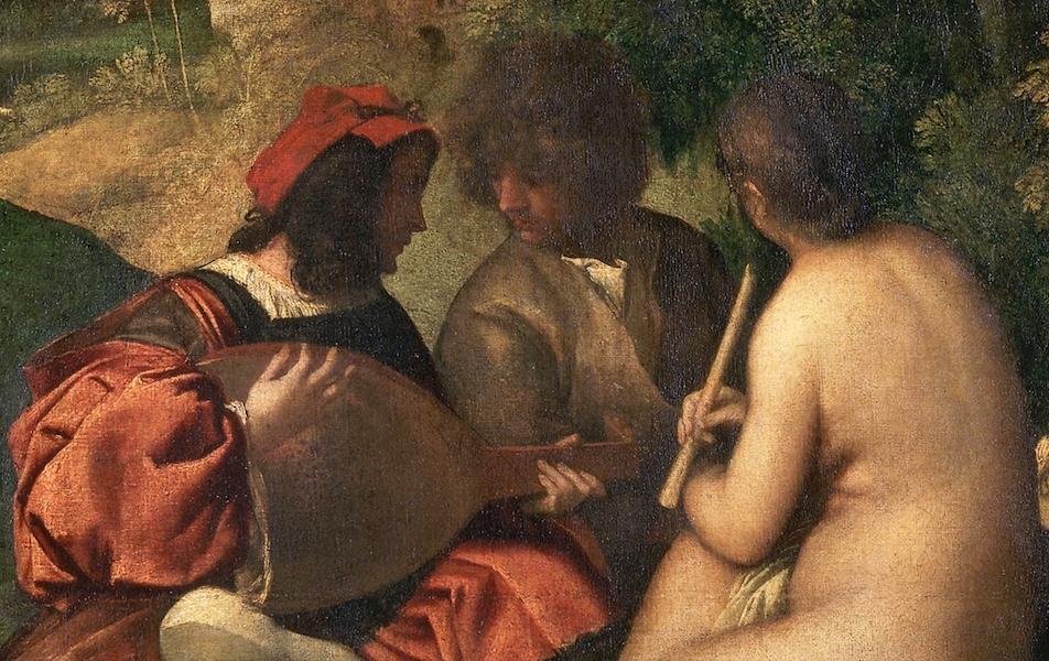 Seated figures (detail), Titian,Pastoral Concert, c. 1509, 105 x 137 cm (Louvre)