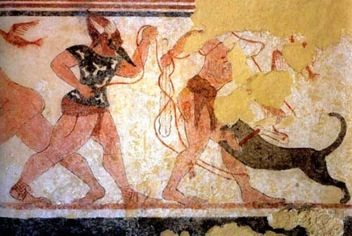 Phersu and his victim, Tomb of the Augurs, (late 6th century B.C.E.,  Tarquinia)