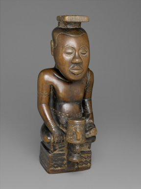 Ndop Portrait of King Mishe miShyaang maMbul, c. 1760-80, wood and camwood powder, 19-1/2 x 7-5/8 x 8-5/8 inches (Brooklyn Museum)