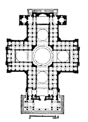 Plan, Jacques-Germain Soufflot, Church of Ste-Geneviève (now Le Panthéon), 1755-90, Paris, France, from A.D.F. Hamlin, A Text-Book of the History of Architecture, 1909